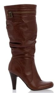 NWOT GUESS slouch leather brown heeled boots